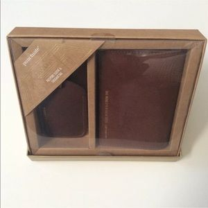 Brown Leather Passport Cover Luggage Tag Set New